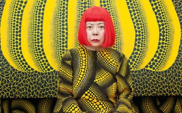 yayoi kusamakusama in yellow tree room, courtesy the whitney museum and louis vuitton